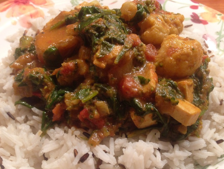 Vegetable and tofu curry with basmati rice